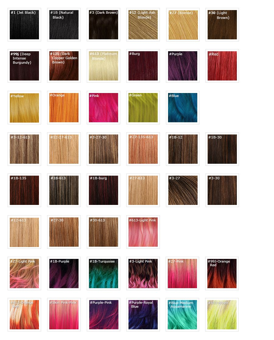 Color chart for wigs - Considering The Difference Of Lighting And The Display Of Monitor The Color You See From Computer May Be Kind Of Different From That Of The Item You