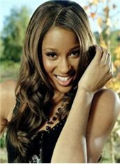 Full Lace 2213 New Long Wavy Sepia Real Human Wigs for Black Women approx. 22 Inch