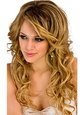 Indian Remy Hair 2015 New Long Wavy Blonde Wigs