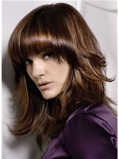 2015 New Medium Wavy Sepia Indian Remy Hair Fashion Wigs