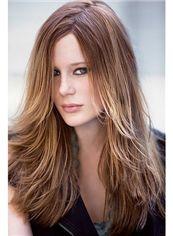100% Human Hair Brown Medium New Glamourous Wigs 18 Inch