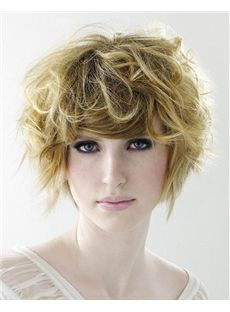 2015 New Short Wavy Blonde Real Hair Wigs