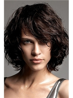 2015 New Black Short Wavy Indian Remy Hair Wigs