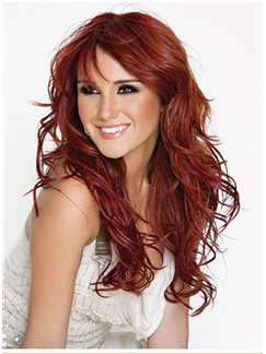 Lace Front 2015 New Long Wavy Red Remy Wigs