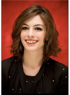 Capless 2015 New Short Wavy Brown 100% Indian Remy Hair Wigs 10 Inch