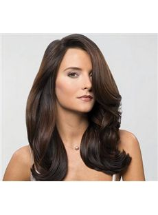 Full Lace 2015 New Medium Wavy Sepia Remy Wigs - 18 Inch