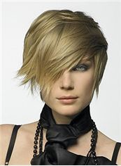2015 New Short Straight Blonde Indian Remy Hair Wigs