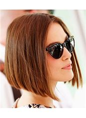 2015 New Short Brown Straight Full Lace 100% Indian Remy Hair Wigs