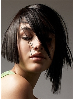2015 New Short Straight Black True Human Hair Wigs