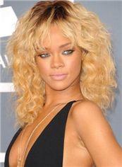 Capless 2015 New Medium Wavy Blonde 100% Indian Remy Hair Simple Wigs