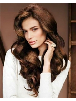 Full Lace 2015 New Wavy Sepia Long Top Human Wigs