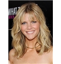 Full Lace 2015 New Medium Blonde Wavy 100% Indian Remy Hair Wigs