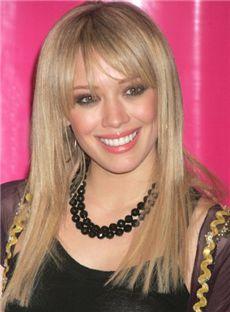 2015 New Medium Straight Blonde Human Hair Wigs