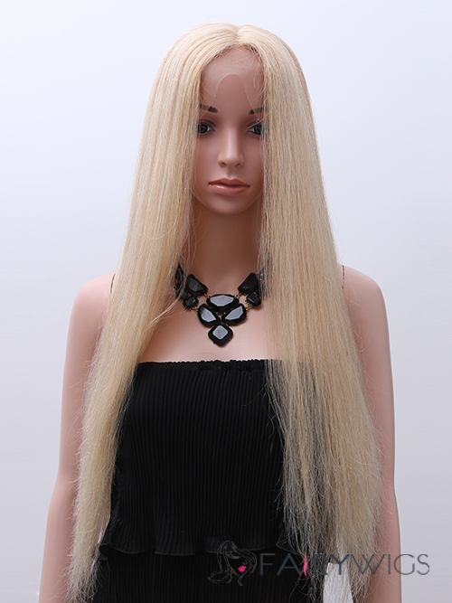 2015 New Straight Long Black Full Lace 100% Indian Remy Hair Wigs