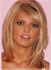 Ancient Medium Straight Blonde Indian Remy Hair Party Wigs