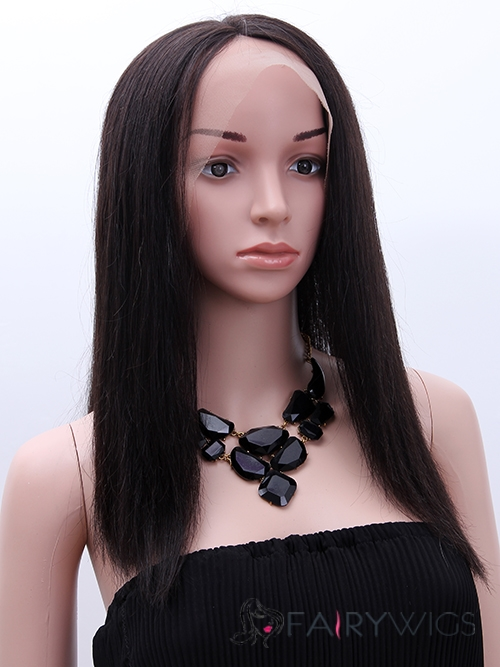 Fabulous Medium Straight Brown Full Lace 100% Indian Remy Hair Party Wigs for Black Women