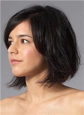 Cute Short Wavy Black 100% Indian Remy Hair Party Wigs