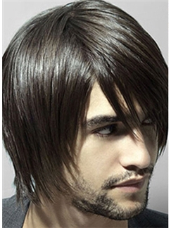 New Short Black Capless Indian Remy Mens Wigs