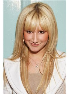 Prevailing Long Straight Blonde Human Hair Wigs
