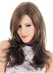 Classic Medium Capless Wavy Sepia True Human Hair Wigs