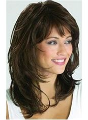 Fancy Medium Capless Wavy Sepia True Human Hair Wigs