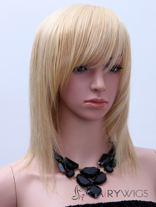 Amazing Medium Straight Blonde Real Hair Capless Wigs