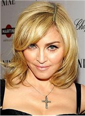 Simple Short Full Lace Wavy Blonde Human Hair Wigs