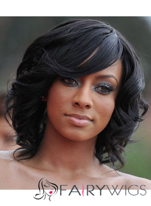 Cute Medium Lace Front Wavy Black Hair Wigs for Black Women ... 14e0190dc3