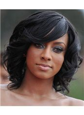 Cute Medium Lace Front Wavy Black Hair Wigs for Black Women