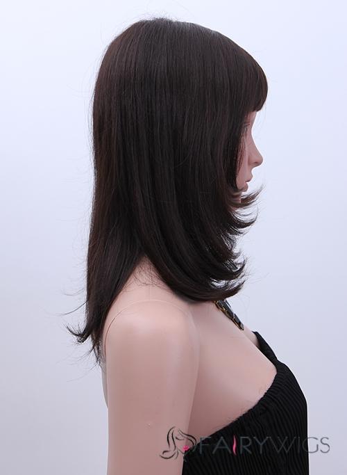 Wholesale Medium Wavy Brown Real Hair Capless Wigs
