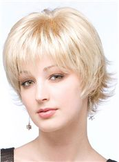 Gorgeous Short Wavy Blonde Real Hair Capless Wigs