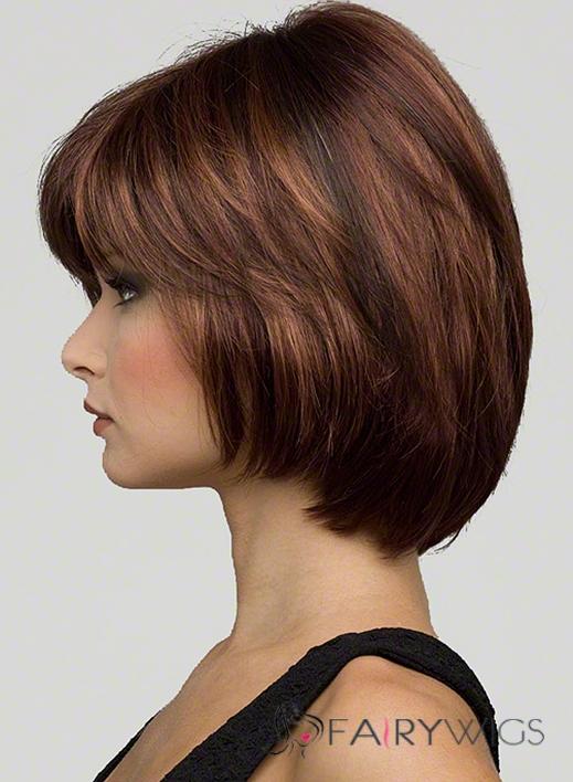 Pretty Short Wavy Brown True Human Hair Wigs