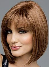 Attractive Short Straight Brown Natural Human Hair Wigs
