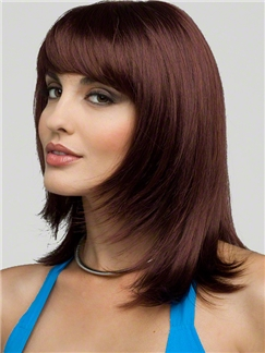 Wholesale Capless Medium Wavy Brown Human Hair Wigs