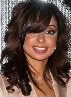 Ingenious Medium Wavy Sepia Indian Remy Hair Wigs for Black Women