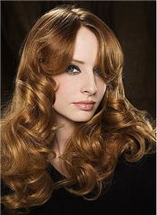 New Full Lace Medium Wavy Brown Top Human Hair Wigs