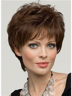 Feeling from Capless Short Wavy Brown 100% Indian Remy Hair Wigs