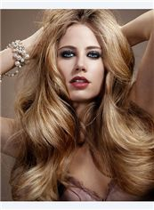 Elegant Cheap Full Lace Long Wavy Blonde 100% Indian Remy Hair Wigs