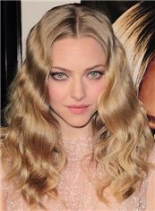 2015 Fashion Trend Cheap Full Lace Medium Wavy Blonde Top Human Hair Wigs