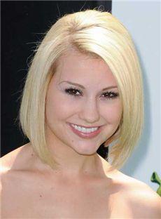 Lustrous Full Lace Medium Straight Blonde Top Human Hair Wigs