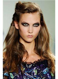Shinning Cheap Full Lace Medium Wavy Sepia Remy Hair Wigs