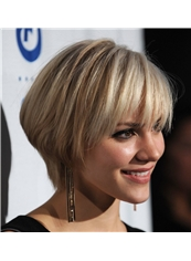 Human Hair Capless Blonde Short Straight Wigs