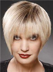 100% Human Hair Short Straight Capless Blonde Wigs