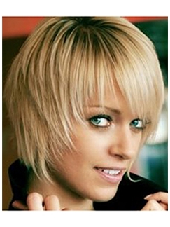 Blonde Short 100% Human Hair Straight Capless Wigs