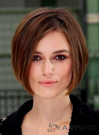 Human Hair Sepia Short Straight Lace Front Wigs 12