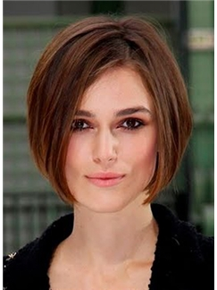 Human Hair Sepia Short Straight Lace Front Wigs 12'