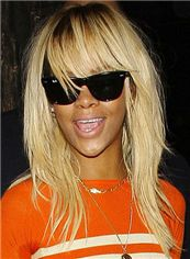 Human Hair Blonde Medium Straight African American Wigs