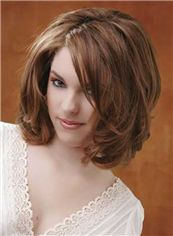 100% Human Hair Sepia Short Wavy Full Lace Wigs 12 Inch (30.48 cm)