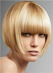 100% Human Hair Short Blonde Straight Capless Wigs