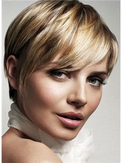 Blonde Short Straight Human Hair Capless Wigs 10 Inch